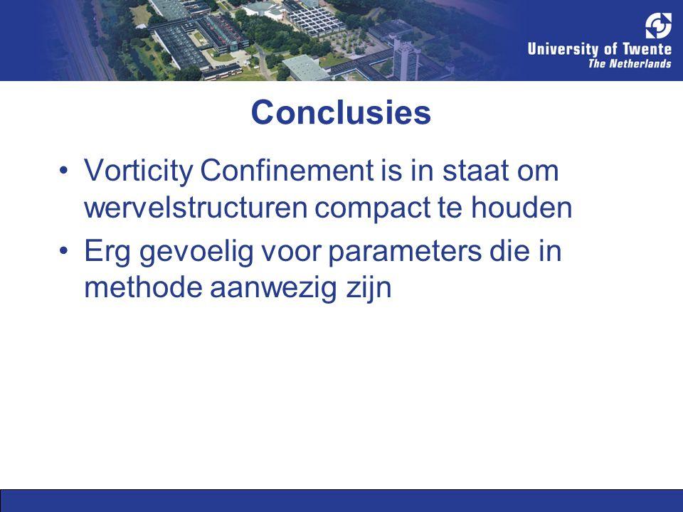 Conclusies Vorticity Confinement is in staat om wervelstructuren compact te houden Erg gevoelig voor parameters die in methode aanwezig zijn