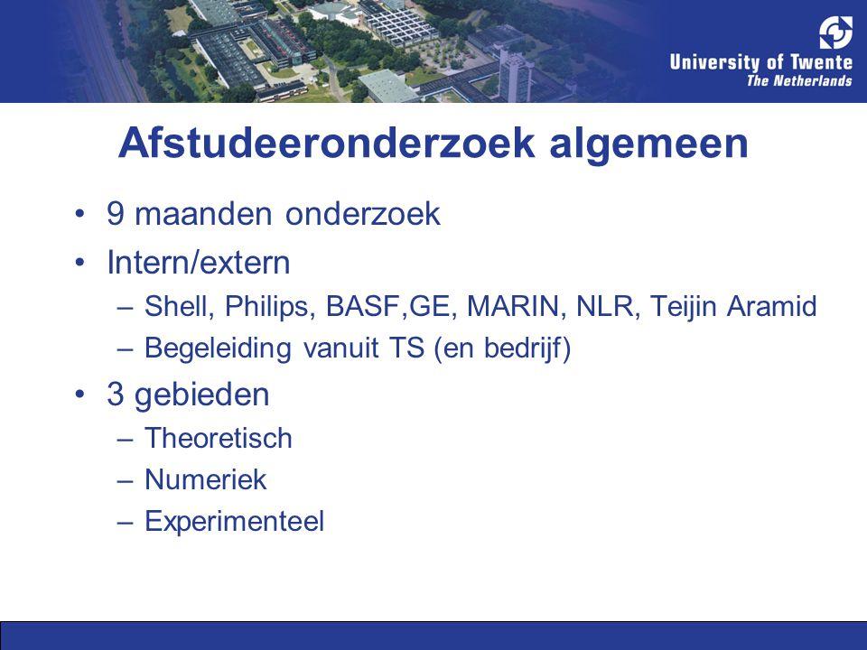 Afstudeeronderzoek algemeen 9 maanden onderzoek Intern/extern –Shell, Philips, BASF,GE, MARIN, NLR, Teijin Aramid –Begeleiding vanuit TS (en bedrijf) 3 gebieden –Theoretisch –Numeriek –Experimenteel