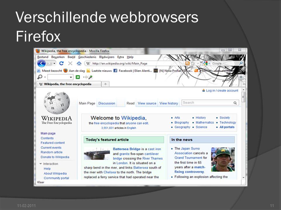 Verschillende webbrowsers Firefox 11-02-201111