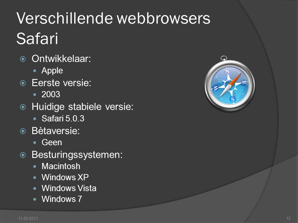 Verschillende webbrowsers Safari  Ontwikkelaar: Apple  Eerste versie: 2003  Huidige stabiele versie: Safari 5.0.3  Bètaversie: Geen  Besturingssystemen: Macintosh Windows XP Windows Vista Windows 7 11-02-201112