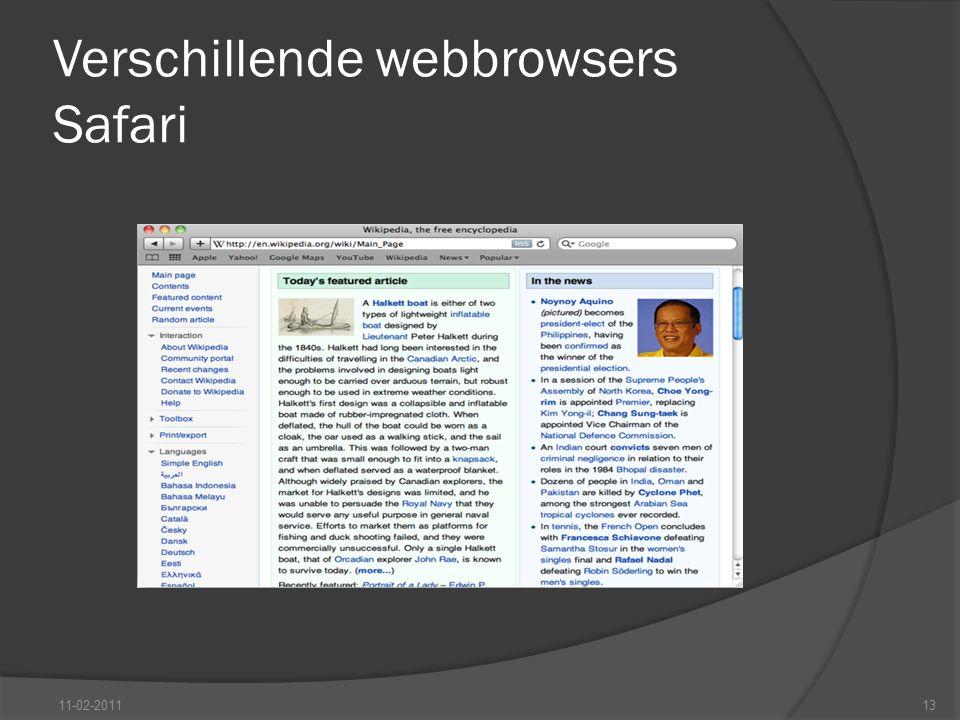 Verschillende webbrowsers Safari 11-02-201113