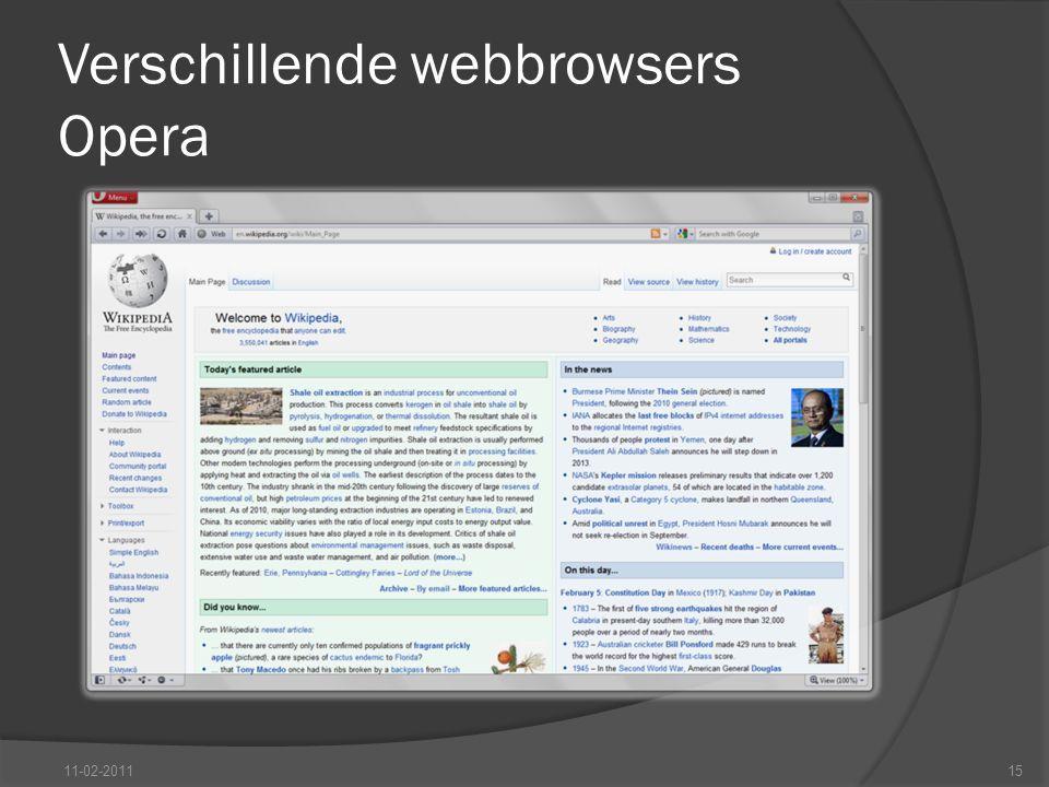 Verschillende webbrowsers Opera 11-02-201115
