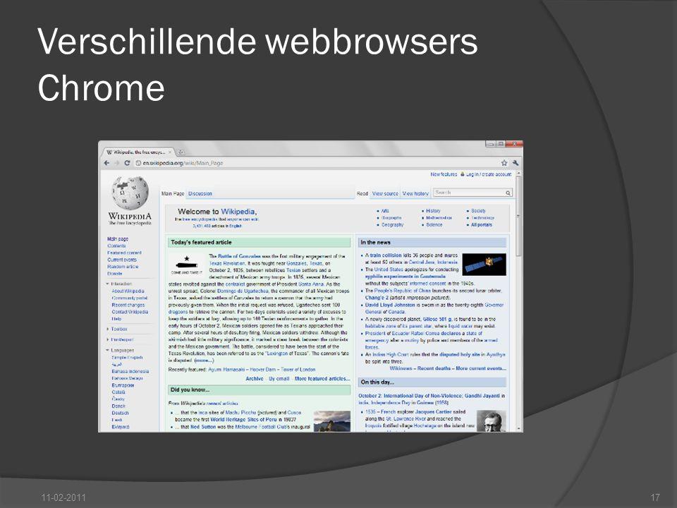 Verschillende webbrowsers Chrome 11-02-201117