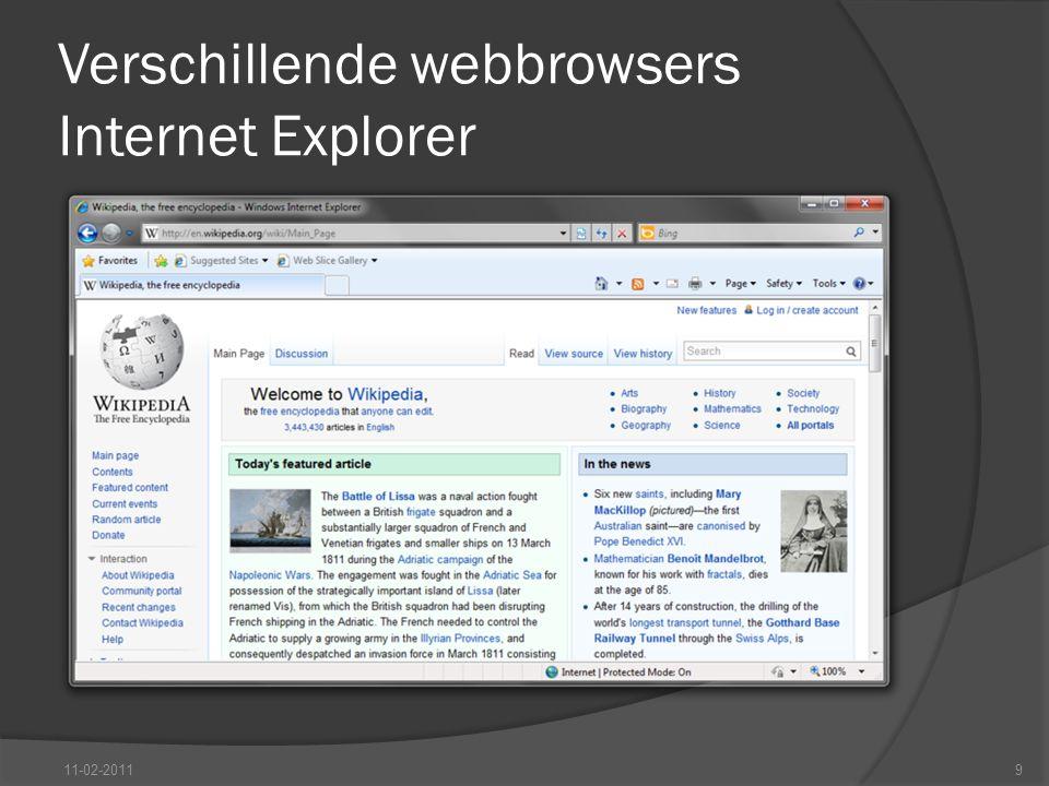 Verschillende webbrowsers Internet Explorer 11-02-20119