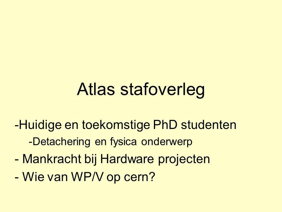 Atlas stafoverleg -Huidige en toekomstige PhD studenten -Detachering en fysica onderwerp - Mankracht bij Hardware projecten - Wie van WP/V op cern