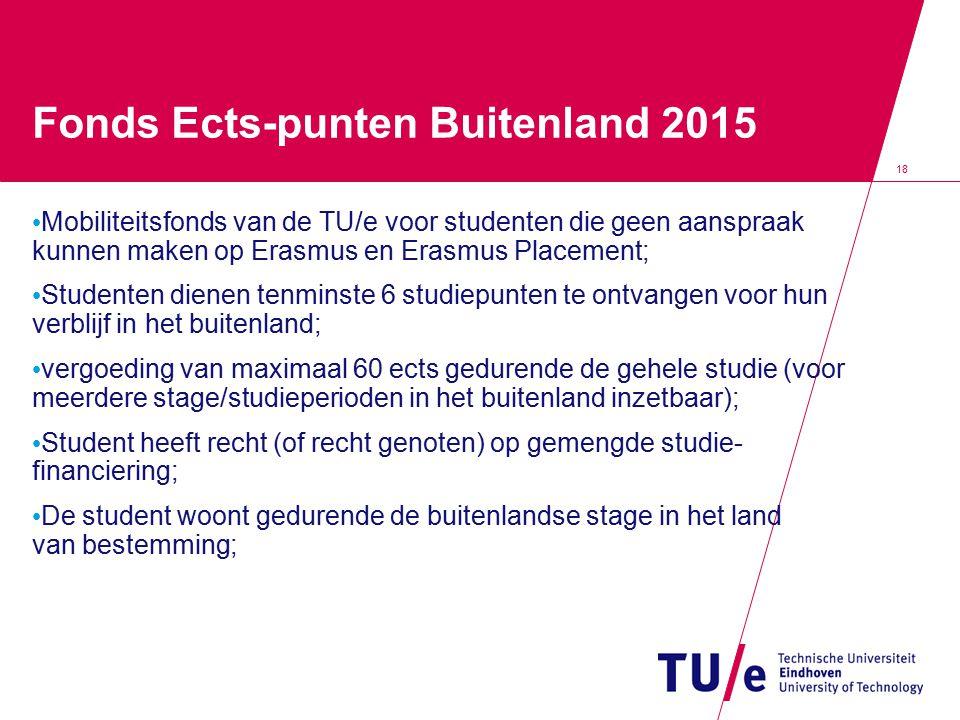 18 Fonds Ects-punten Buitenland 2015 Mobiliteitsfonds van de TU/e voor studenten die geen aanspraak kunnen maken op Erasmus en Erasmus Placement; Stud