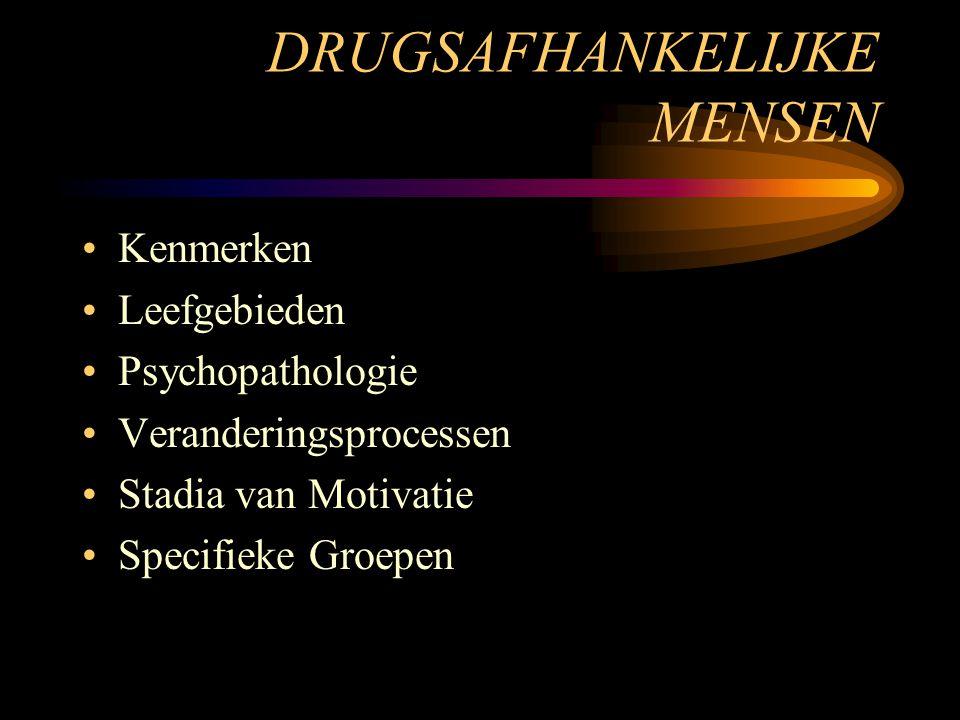DRUGSAFHANKELIJKE MENSEN Kenmerken Leefgebieden Psychopathologie Veranderingsprocessen Stadia van Motivatie Specifieke Groepen