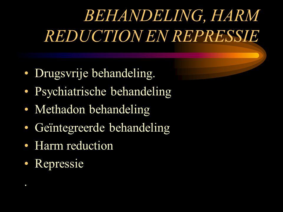 BEHANDELING, HARM REDUCTION EN REPRESSIE Drugsvrije behandeling. Psychiatrische behandeling Methadon behandeling Geïntegreerde behandeling Harm reduct