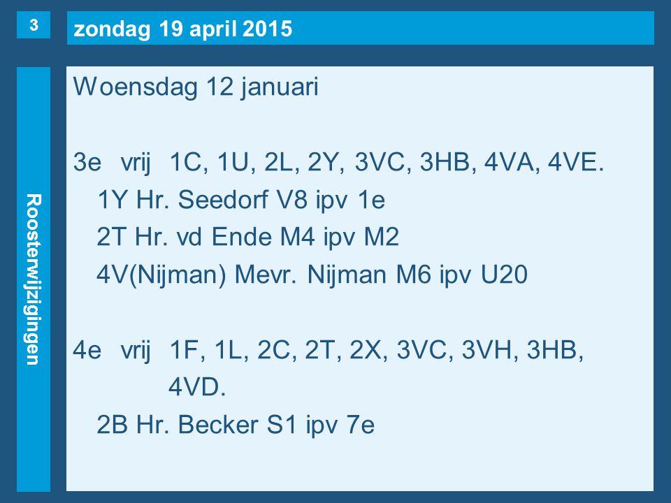 zondag 19 april 2015 Roosterwijzigingen Woensdag 12 januari 3evrij1C, 1U, 2L, 2Y, 3VC, 3HB, 4VA, 4VE.