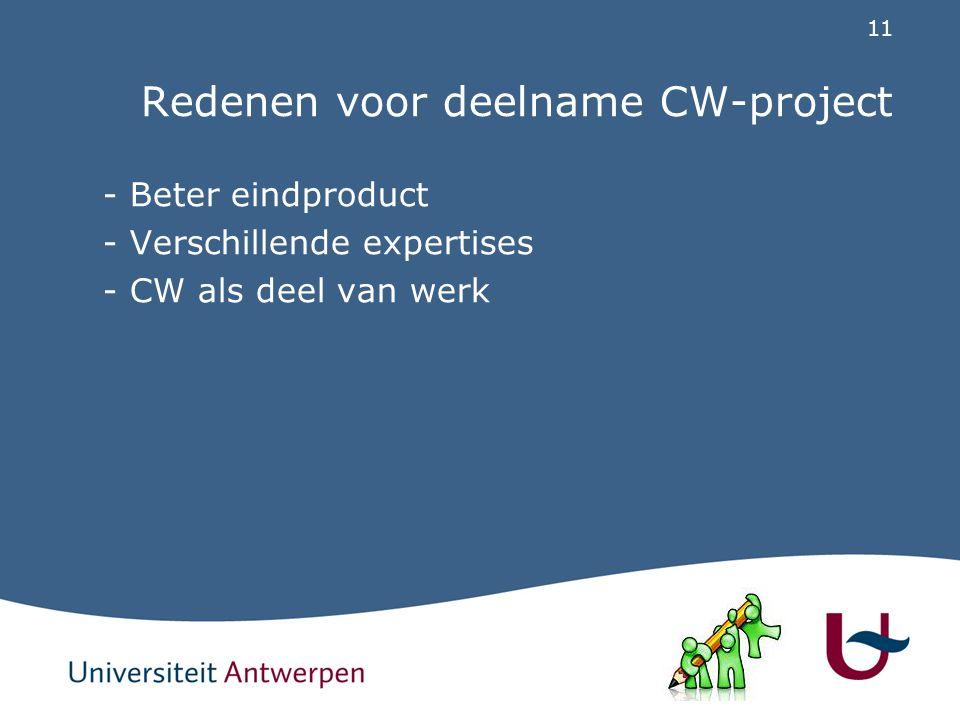 11 Redenen voor deelname CW-project - Beter eindproduct - Verschillende expertises - CW als deel van werk