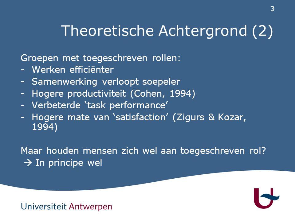 3 Theoretische Achtergrond (2) Groepen met toegeschreven rollen: -Werken efficiënter -Samenwerking verloopt soepeler -Hogere productiviteit (Cohen, 1994) -Verbeterde 'task performance' -Hogere mate van 'satisfaction' (Zigurs & Kozar, 1994) Maar houden mensen zich wel aan toegeschreven rol.