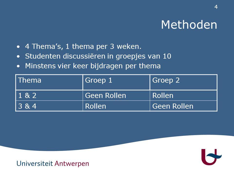 4 Methoden 4 Thema's, 1 thema per 3 weken.