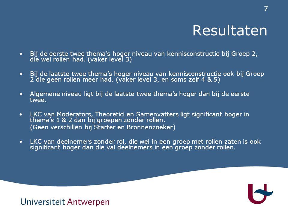 7 Resultaten Bij de eerste twee thema's hoger niveau van kennisconstructie bij Groep 2, die wel rollen had.