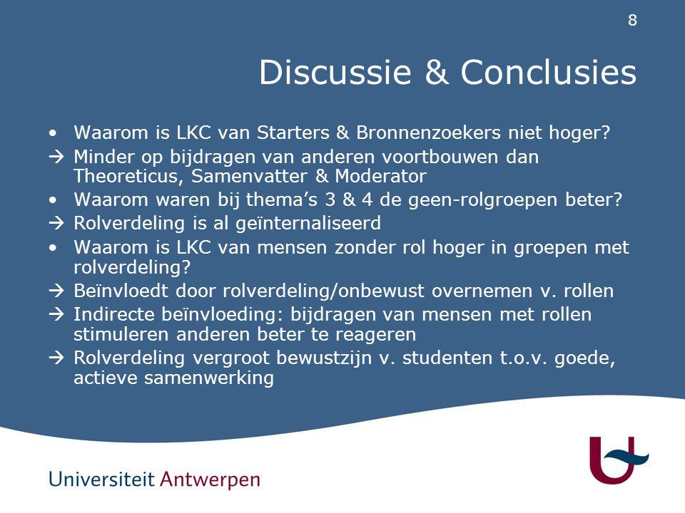 8 Discussie & Conclusies Waarom is LKC van Starters & Bronnenzoekers niet hoger.