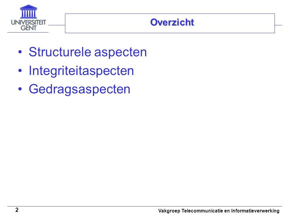 Vakgroep Telecommunicatie en Informatieverwerking 2 Overzicht Structurele aspecten Integriteitaspecten Gedragsaspecten