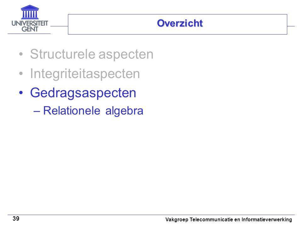 Vakgroep Telecommunicatie en Informatieverwerking 39 Overzicht Structurele aspecten Integriteitaspecten Gedragsaspecten –Relationele algebra