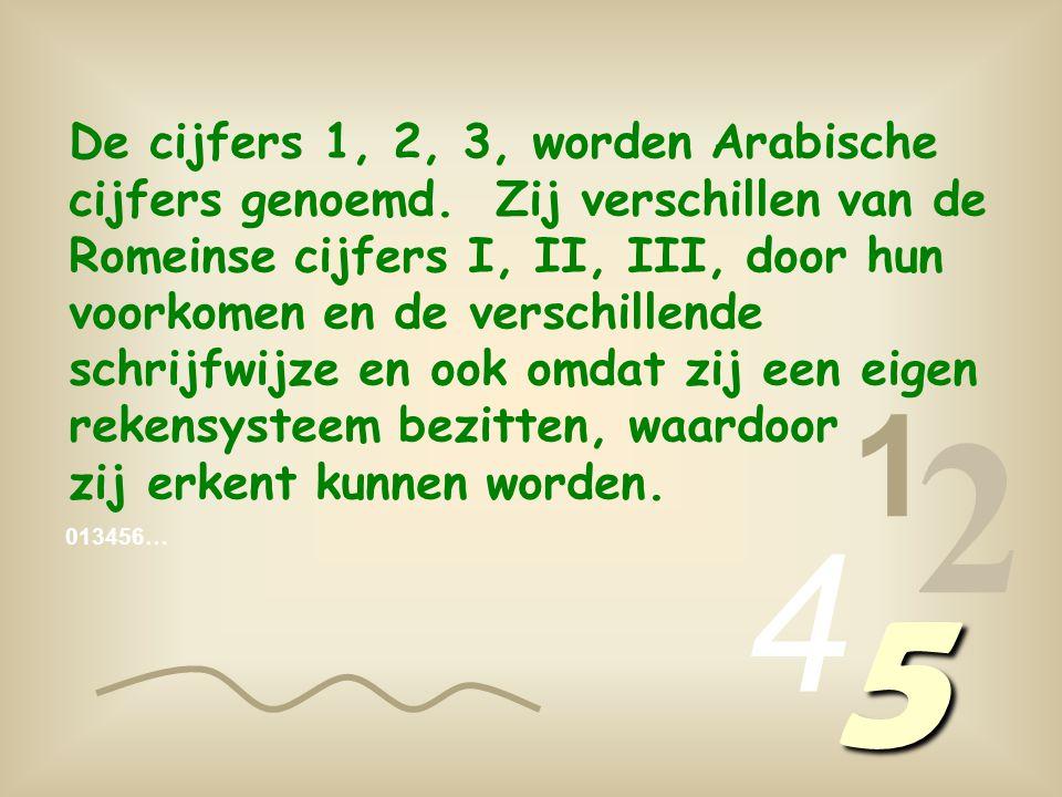 De cijfers 1, 2, 3, worden Arabische cijfers genoemd.