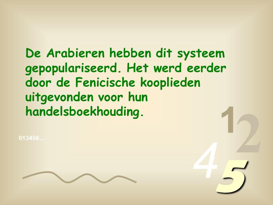 1 2 4 5 De Arabieren hebben dit systeem gepopulariseerd.