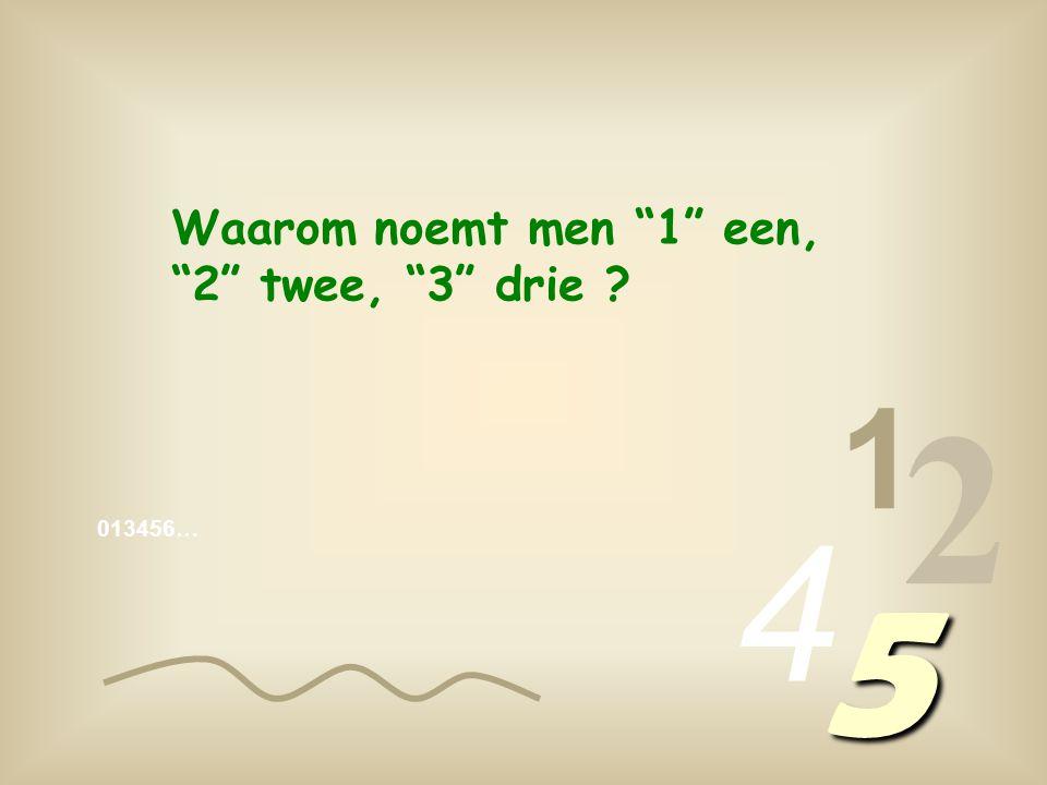 013456… 1 2 4 5 Waarom noemt men 1 een, 2 twee, 3 drie ?