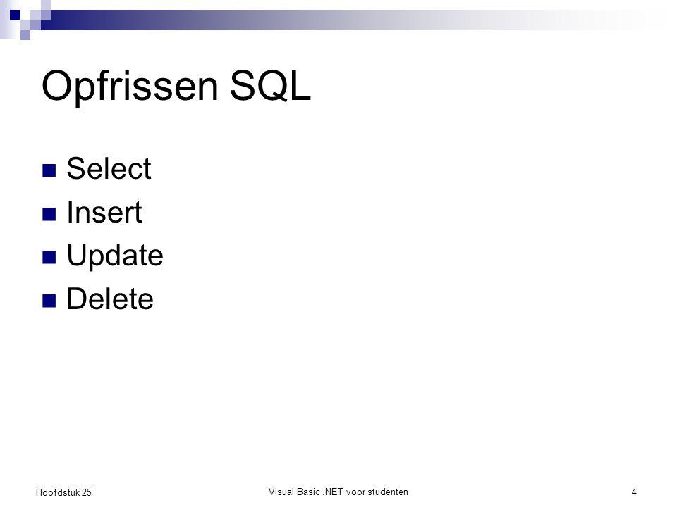 Hoofdstuk 25 Opfrissen SQL Select Insert Update Delete Visual Basic.NET voor studenten4
