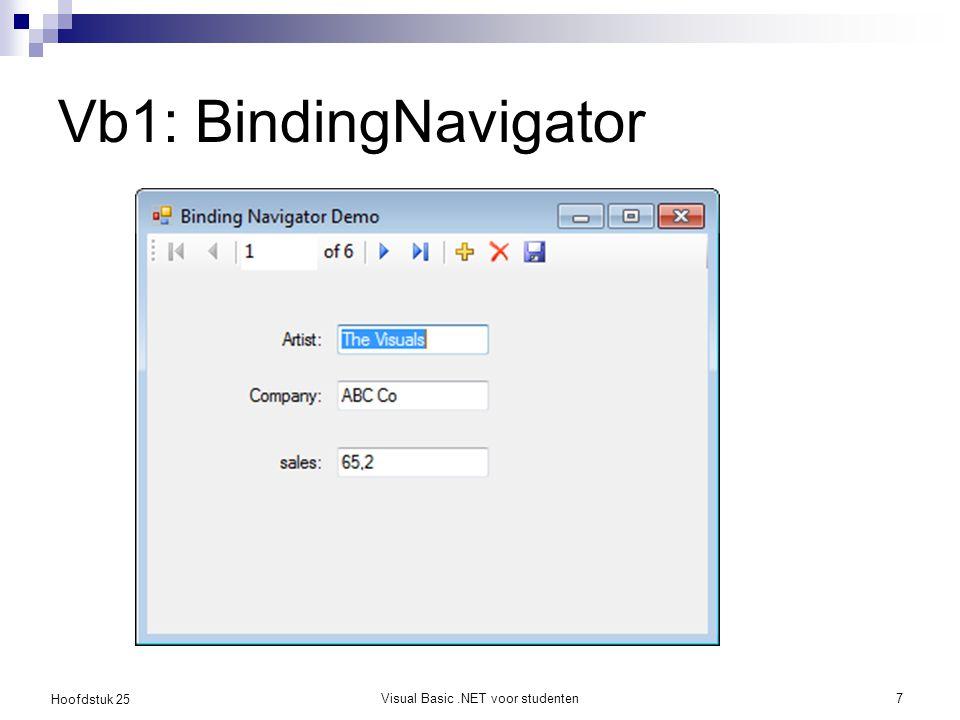 Hoofdstuk 25 Vb1: BindingNavigator Visual Basic.NET voor studenten7