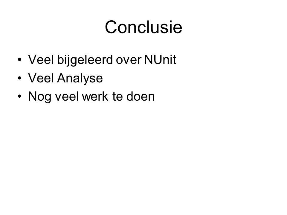 Conclusie Veel bijgeleerd over NUnit Veel Analyse Nog veel werk te doen