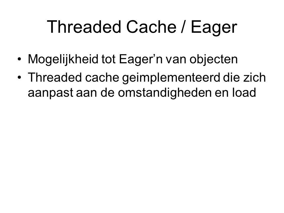 Threaded Cache / Eager Mogelijkheid tot Eager'n van objecten Threaded cache geimplementeerd die zich aanpast aan de omstandigheden en load