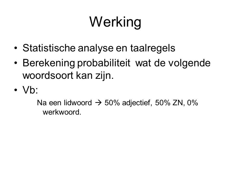 Werking Statistische analyse en taalregels Berekening probabiliteit wat de volgende woordsoort kan zijn.