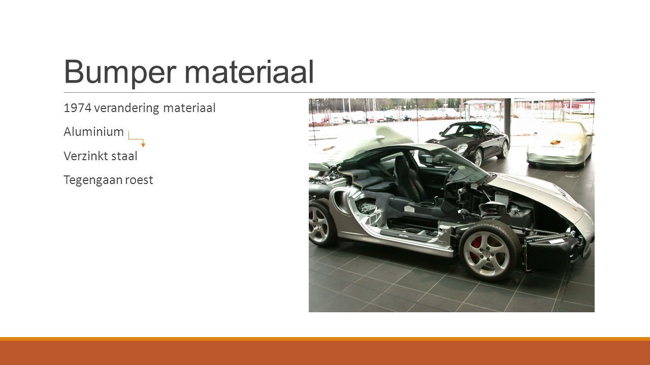 Bumper materiaal 1974 verandering materiaal Aluminium Verzinkt staal Tegengaan roest