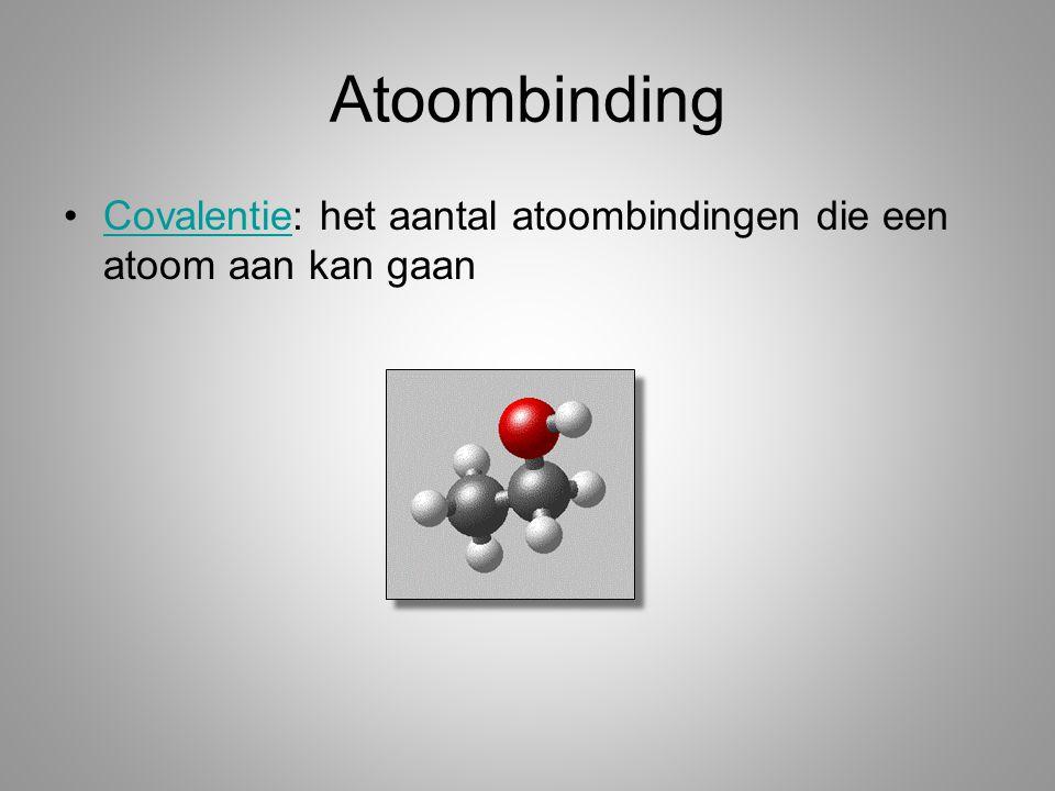 Atoombinding Covalentie: het aantal atoombindingen die een atoom aan kan gaanCovalentie