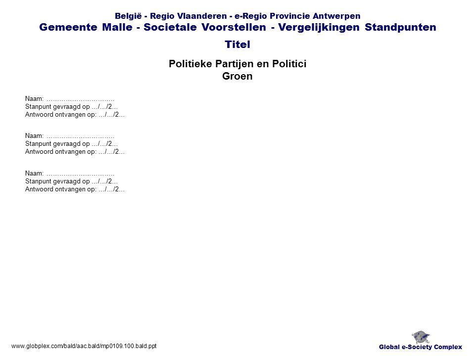 Global e-Society Complex België - Regio Vlaanderen - e-Regio Provincie Antwerpen Gemeente Malle - Societale Voorstellen - Vergelijkingen Standpunten Politieke Partijen en Politici Groen Titel www.globplex.com/bald/aac.bald/mp0109.100.bald.ppt Naam: …………………………..