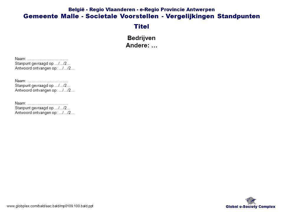 Global e-Society Complex België - Regio Vlaanderen - e-Regio Provincie Antwerpen Gemeente Malle - Societale Voorstellen - Vergelijkingen Standpunten Bedrijven Andere: … Titel www.globplex.com/bald/aac.bald/mp0109.100.bald.ppt Naam: …………………………..