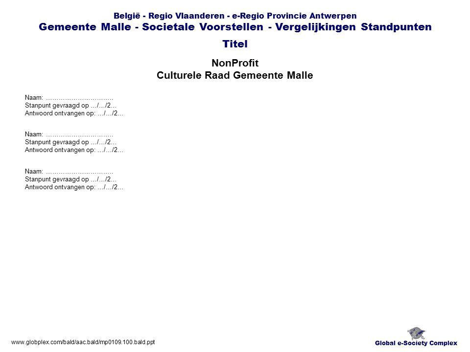 Global e-Society Complex België - Regio Vlaanderen - e-Regio Provincie Antwerpen Gemeente Malle - Societale Voorstellen - Vergelijkingen Standpunten NonProfit Culturele Raad Gemeente Malle Titel www.globplex.com/bald/aac.bald/mp0109.100.bald.ppt Naam: …………………………..