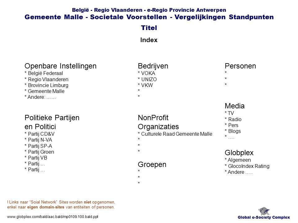 België - Regio Vlaanderen - e-Regio Provincie Antwerpen Gemeente Malle - Societale Voorstellen - Vergelijkingen Standpunten Overzicht Ratings Standpunten Global e-Society Complex Titel www.globplex.com/bald/aac.bald/mp0109.100.bald.ppt Openbare Instellingen * België Federaal * Regio Vlaanderen * Brovincie Limburg * Gemeente Malle * Bedrijven * VOKA * UNIZO * VKW * Politieke Partijen en Politici * Partij CD&V * Partij N-VA * Partij SP-A * Partij Groen * Partij VB * Partij … * Partij … * … NonProfit Organizaties * Culturele Raad Gemeente Malle * Groepen * Globplex * Algemeen * GlocoIndex Rating * Andere …..