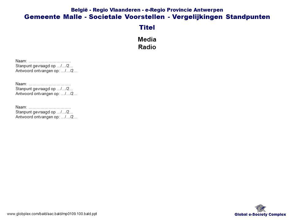 Global e-Society Complex België - Regio Vlaanderen - e-Regio Provincie Antwerpen Gemeente Malle - Societale Voorstellen - Vergelijkingen Standpunten Media Radio Titel www.globplex.com/bald/aac.bald/mp0109.100.bald.ppt Naam: …………………………..