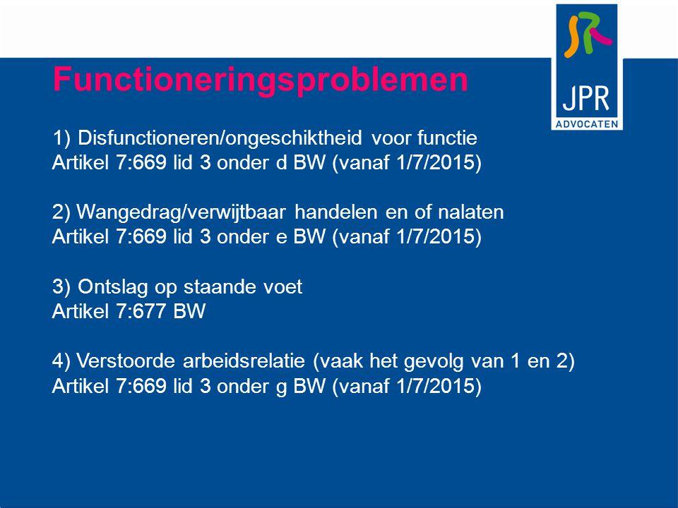 Functioneringsproblemen 1)Disfunctioneren/ongeschiktheid voor functie Artikel 7:669 lid 3 onder d BW (vanaf 1/7/2015) 2) Wangedrag/verwijtbaar handele