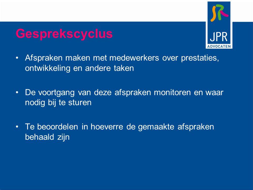 Gesprekscyclus Afspraken maken met medewerkers over prestaties, ontwikkeling en andere taken De voortgang van deze afspraken monitoren en waar nodig b
