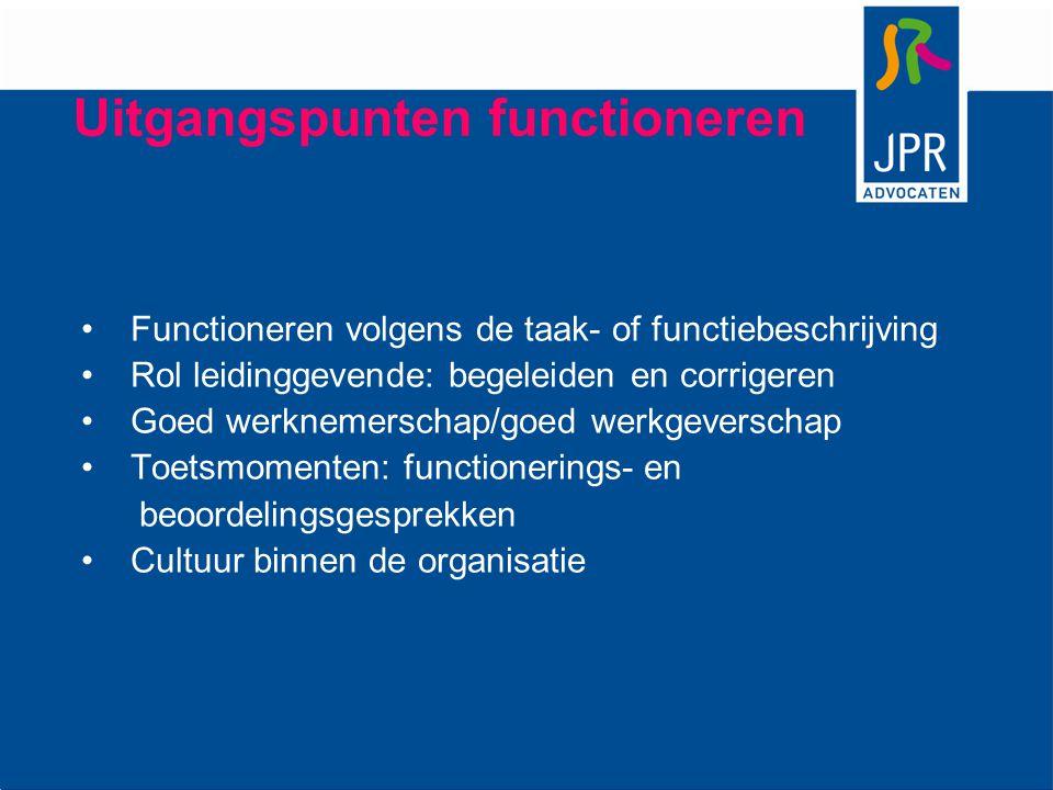 Uitgangspunten functioneren Functioneren volgens de taak- of functiebeschrijving Rol leidinggevende: begeleiden en corrigeren Goed werknemerschap/goed