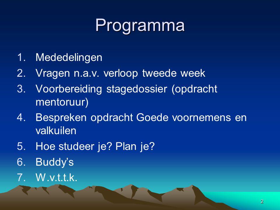 2 Programma 1.Mededelingen 2.Vragen n.a.v.