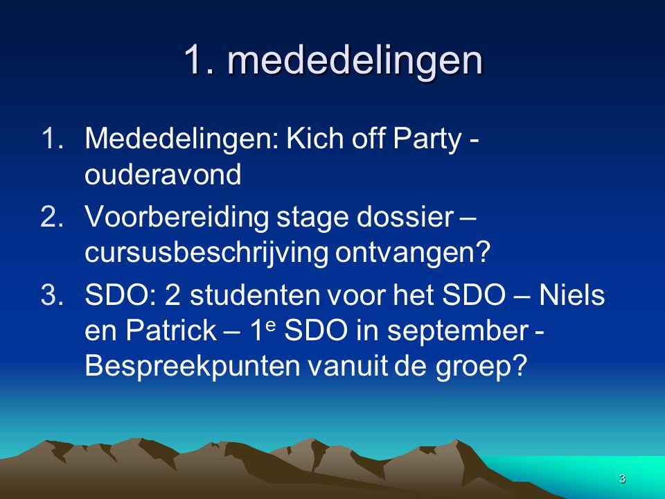 3 1. mededelingen 1.Mededelingen: Kich off Party - ouderavond 2.Voorbereiding stage dossier – cursusbeschrijving ontvangen? 3.SDO: 2 studenten voor he