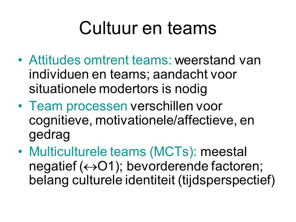 Cultuur en teams Attitudes omtrent teams: weerstand van individuen en teams; aandacht voor situationele modertors is nodig Team processen verschillen voor cognitieve, motivationele/affectieve, en gedrag Multiculturele teams (MCTs): meestal negatief (  O1); bevorderende factoren; belang culturele identiteit (tijdsperspectief)