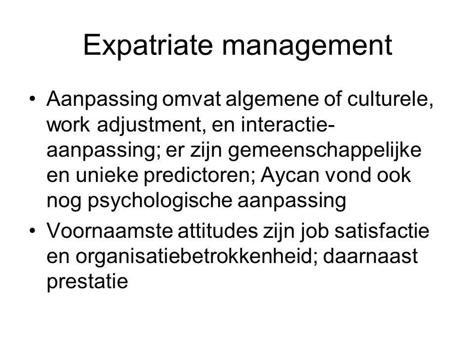 Expatriate management Aanpassing omvat algemene of culturele, work adjustment, en interactie- aanpassing; er zijn gemeenschappelijke en unieke predictoren; Aycan vond ook nog psychologische aanpassing Voornaamste attitudes zijn job satisfactie en organisatiebetrokkenheid; daarnaast prestatie