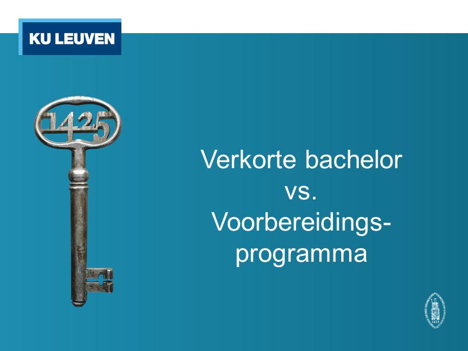 Verkorte bachelor vs. Voorbereidings- programma