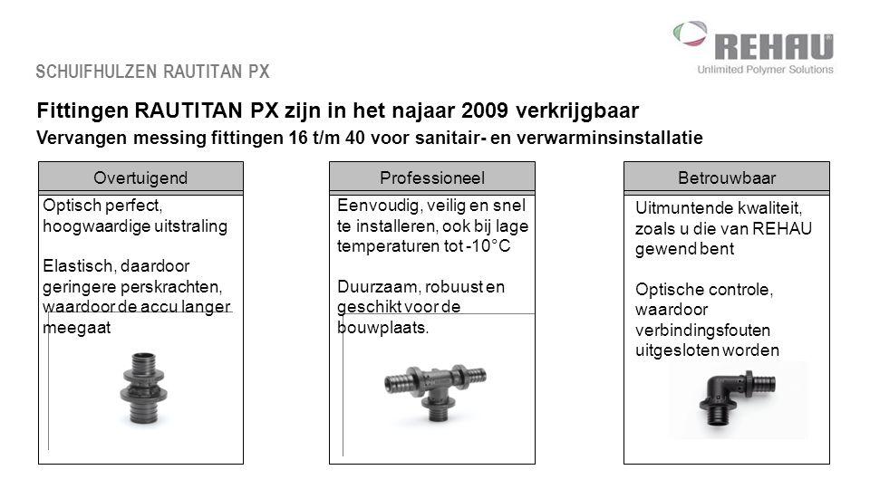 Fittingen RAUTITAN PX zijn in het najaar 2009 verkrijgbaar Vervangen messing fittingen 16 t/m 40 voor sanitair- en verwarminsinstallatie SCHUIFHULZEN