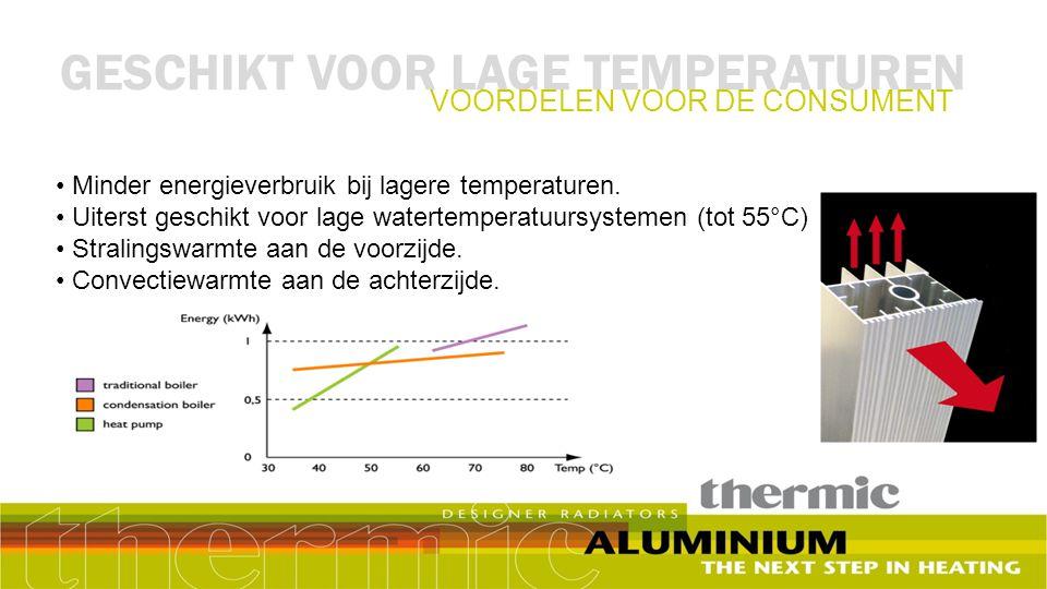 Voordelen voor de klant: Veilige warmte bij LTV gebruik: 40°C - 55°C Waterkanaal ligt afgeschermd in het centrum van het profiel Milieuvriendelijk: 99% van alle onderdelen zijn van aluminium (behalve lak).