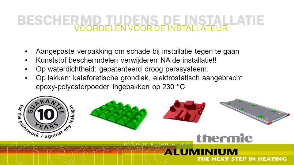 Aangepaste verpakking om schade bij installatie tegen te gaan Kunststof beschermdelen verwijderen NA de installatie!! Op waterdichtheid: gepatenteerd
