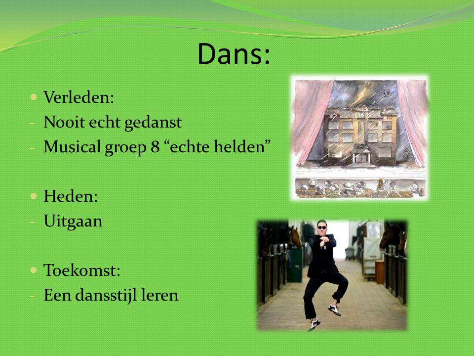 """Dans: Verleden: - Nooit echt gedanst - Musical groep 8 """"echte helden"""" Heden: - Uitgaan Toekomst: - Een dansstijl leren"""