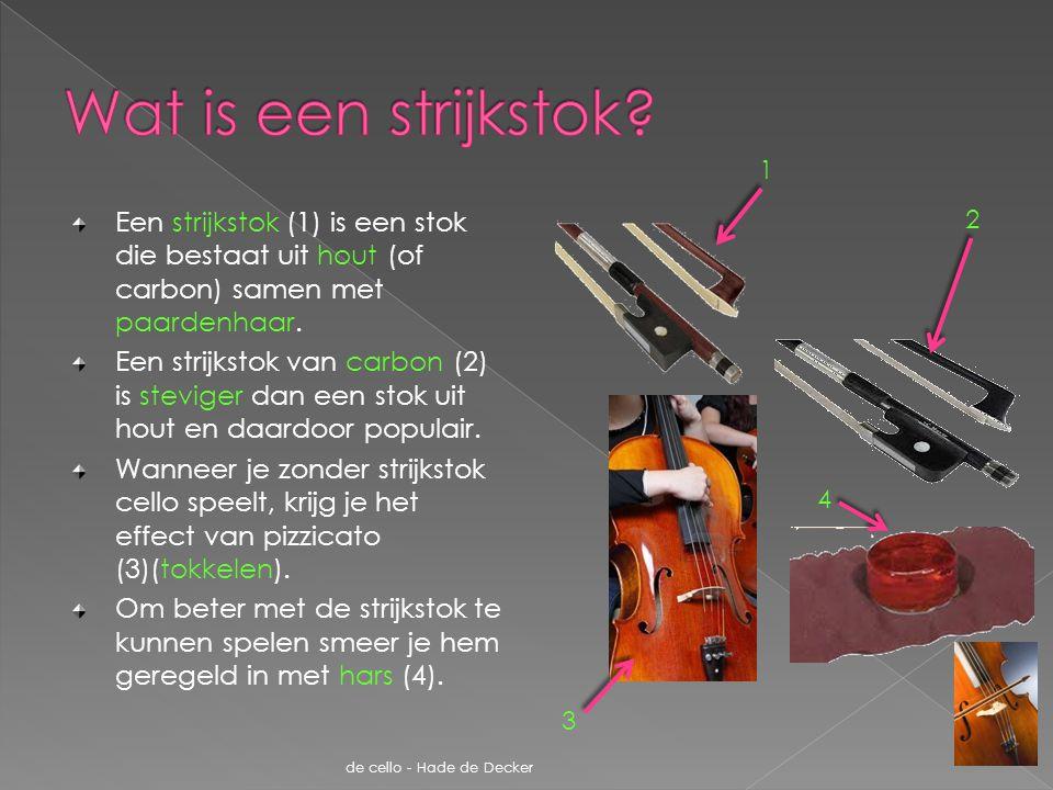 De cello is familie van de viool (1), altviool (2) en contrabas (3).