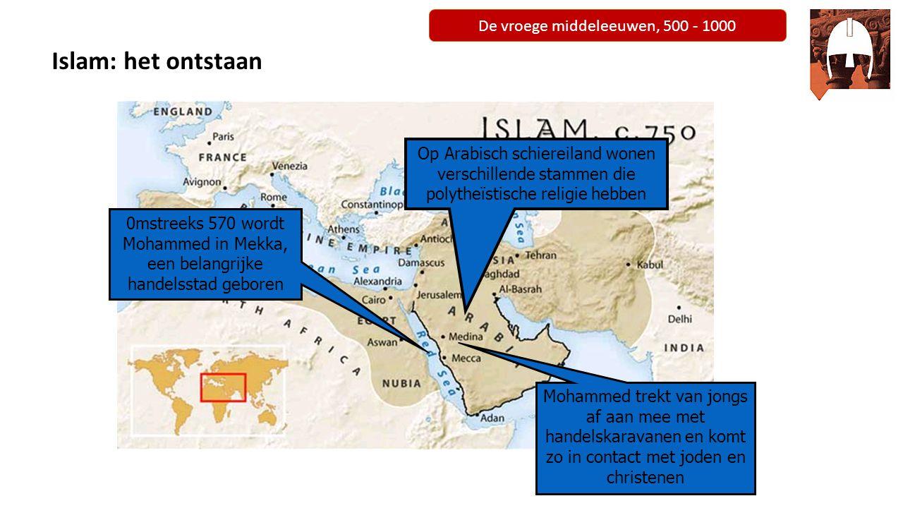 De vroege middeleeuwen, 500 - 1000 Mohammed: de stichter 610: koopman Mohammed krijgt in Mekka boodschap van Allah en wordt zijn profeet De plaatselijke machthebbers zien hem als bedreiging en hij vlucht naar Medina.
