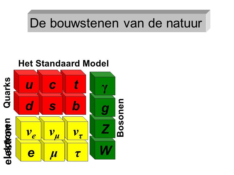 τ ντντ μ νμνμ b t s c e νeνe Leptonen W Z g γ Bosonen Het Standaard Model Quarks d u elektron De bouwstenen van de natuur